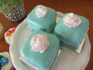 Red Velvet Petit Fours with Cream Cheese Frosting and Delicate Rose