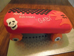 Red Velvet Skateboard Cake with Ramp
