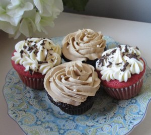 Red Velvet Cupcakes with a Smooth Cream Cheese Frosting. Moist Chocolate Cupcakes with a  Mocha Frosting.