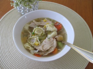 Chicken Tortellini Soup using chicken broth base.