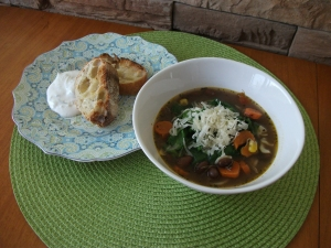 Beef Minestrone Soup using beef broth base.