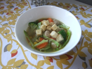 Turkey MeatbalL Soup using basic chicken broth.
